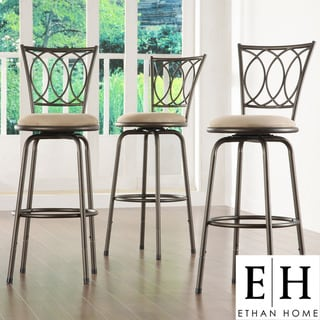 ETHAN HOME Avalon Scroll Adjustable Swivel Counter Barstool (Set of 3)