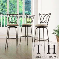 TRIBECCA HOME Avalon Scroll Adjustable Swivel Counter Barstool (Set of 3)