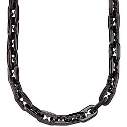 Black Stainless Steel Razor-link Necklace