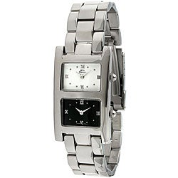 Gino Franco Men's Stainless Steel Dual Timezone Watch