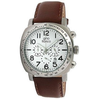 Gino Franco Men's Round Chronograph Stainless Steel Case Watch