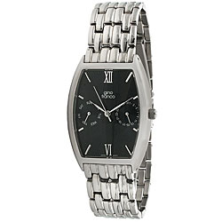 Gino Franco Men's Stainless Steel Black-Dial Multifunction Bracelet Watch