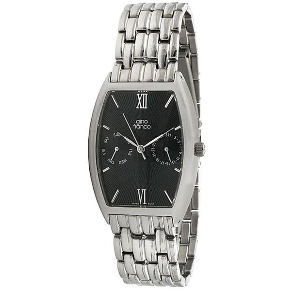 Gino Franco Men's Stainless Steel Black-Dial Multifunction Bracelet Watch