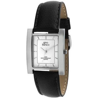 Gino Franco Men's Square Stainless-Steel Case Leather-Strap Water-Resistant Watch