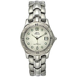 Gino Franco Men's Stainless Steel Bracelet Mineral Crystal Watch