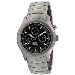 Gino Franco Men's Stainless-Steel Chronograph Watch with Black Dial
