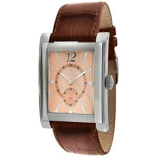 Gino Franco Men's Genuine Leather Borwn Strap Watch