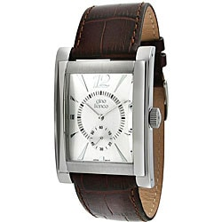Gino Franco Men's Genuine Leather Strap Watch