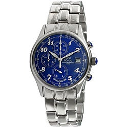 Gino Franco Men's Stainless-Steel Chronograph Watch with Blue Diall