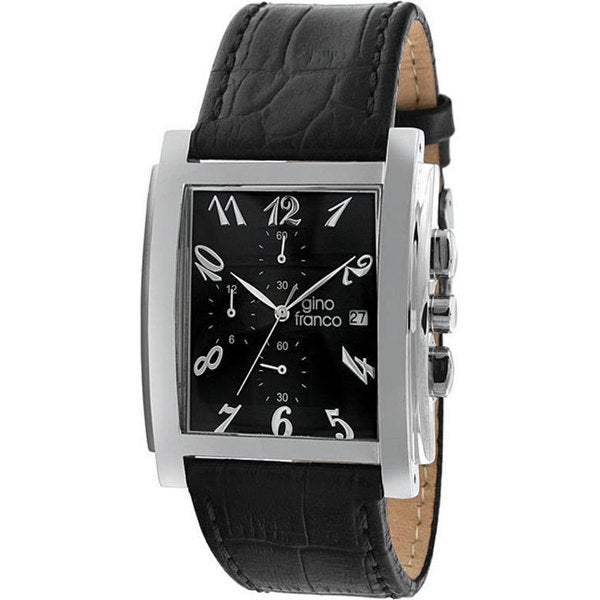 Gino Franco Men's Leather-Strap Black Chronograph Watch