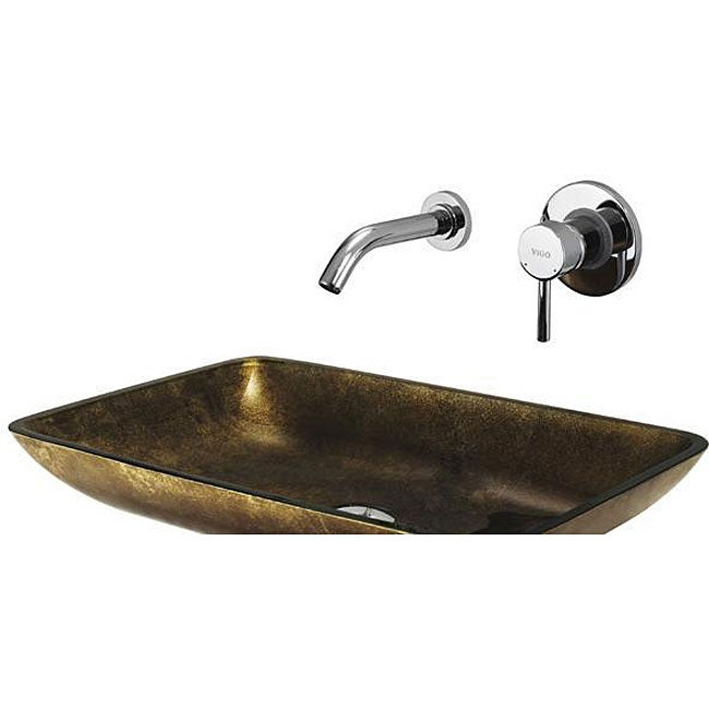 VIGO Rectangular Copper Glass Vessel Sink and Wall Mount Faucet Set
