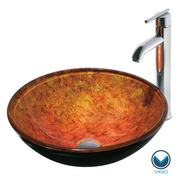 VIGO Livorno Scratch-Resistant Glass Vessel Sink and Faucet Set in Chrome