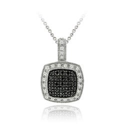 DB Designs Sterling Silver 1/4ct TDW Black Diamond Square Necklace