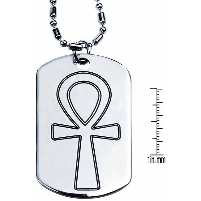 Unisex Lead-free Pewter Ankh Dog Tag Necklace with 32-inch Chain