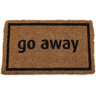 Black Coir 'Go Away' Door Mat 18