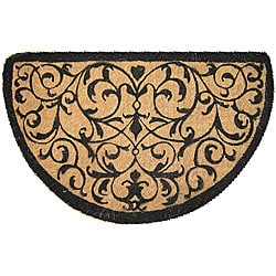 Half Round Coir Iron Design Extra-thick Door Mat (1'6 x 2'6)