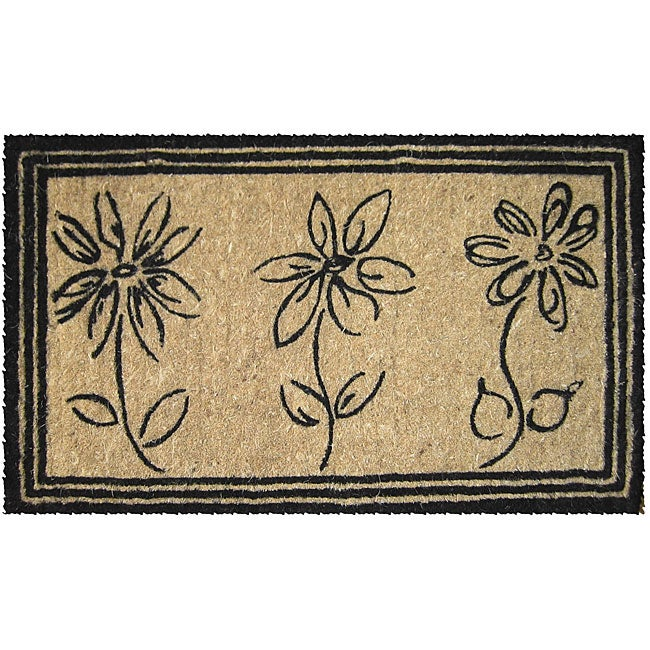 Sketchbook Flowers Coconut Fiber Extra-thick Door Mat (1'6 x 2'6)