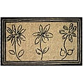Sketchbook Flowers Coconut Fiber Extra-thick Door Mat (1'6 x 2'6)