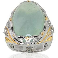 Michael Valitutti Palladium/ Silver/ 18k Vermeil Prehnite/ Sapphire Ring