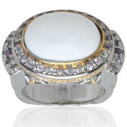 Michael Valitutti Silver/ Palladium/ 18k Vermeil Cachalong Opal Ring