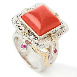 Michael Valitutti 18k Vermeil/ Palladium/ Sterling Silver Coral and Ruby Ring