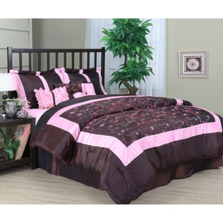 Briana 7-piece Burgundy Comforter Set
