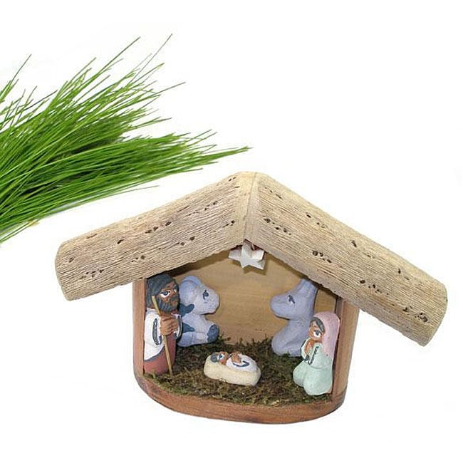 Ceramic and Wood Nativity Scene (Argentina)