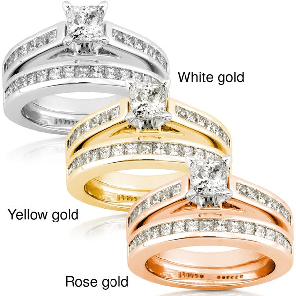 Annello 14k Gold 1 3/4ct TDW Princess-cut Diamond Bridal Set (H-I, I1-I2)