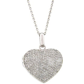 Finesque Sterling Silver 2ct TDW Diamond Heart Locket