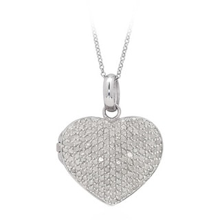 Sterling Silver 2ct TDW Pave Diamond Heart Locket Necklace