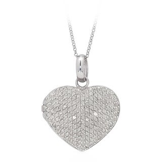 Finesque Sterling Silver 2ct TDW Pave Diamond Heart Locket Necklace