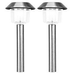 Stainless Steel White LED Solar Lights (Set of 12)