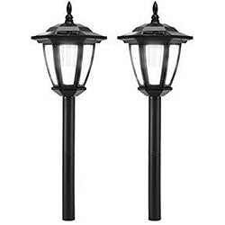 Black Antique 2-LED Wall Mount Solar Lights (Set of 6)