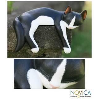 Wood 'Snoozing Tuxedo Cat' Statuette (Indonesia)