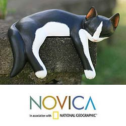 Wood 'Snoozing Tuxedo Cat' Statuette (Indonesia)