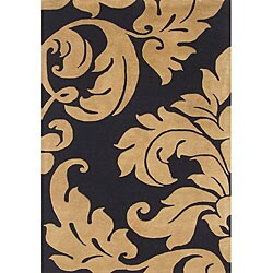 Alliyah Handmade Black New Zealand Blend Wool Rug Wool Rug (5' x 8')