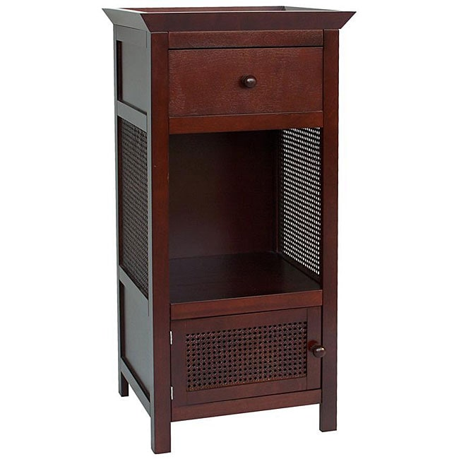 cherry brown 1 door drawer bathroom furniture linen home