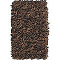 nuLOOM Handmade Alexa Premium Leather Brown Shag Rug (2'6 x 8')