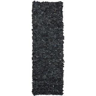 nuLOOM Handmade Alexa Premium Leather Black Shag Rug (2'6 x 8')