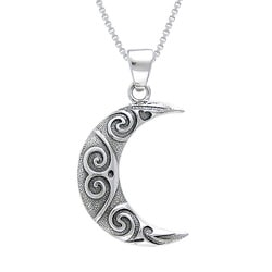 CGC Sterling Silver Spiral Moon Celtic Necklace