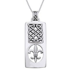 CGC Sterling Silver Fleur De Lis/ Celtic knot Necklace