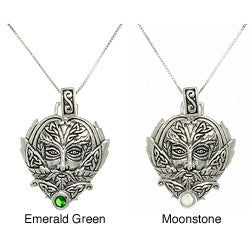 CGC Sterling Silver Moonstone Green Man Trinity Necklace