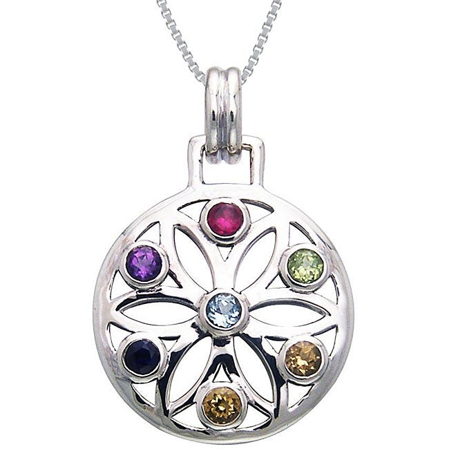 CGC Sterling Silver Gemstone Chakra Lotus Necklace
