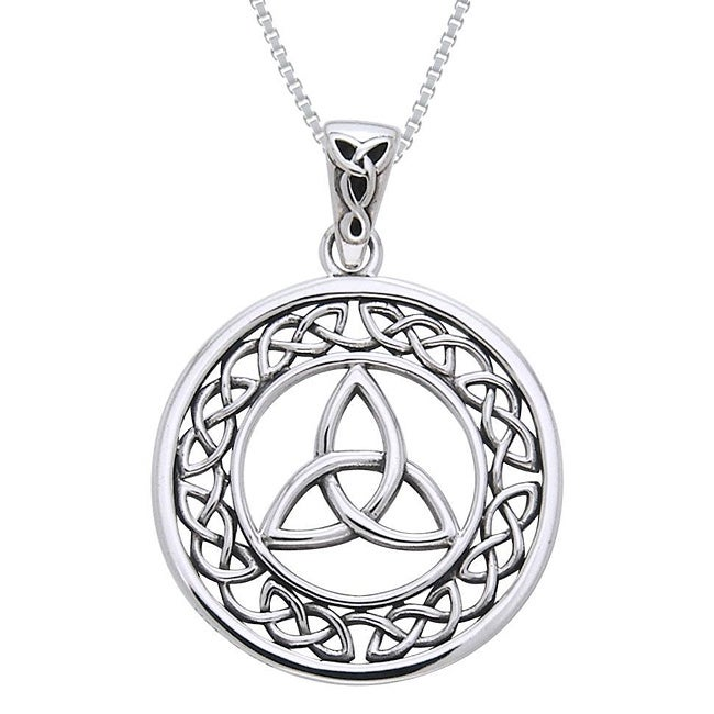 CGC Sterling Silver Celtic Border Trinity Knot Necklace