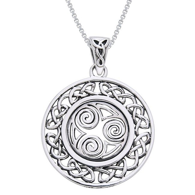 CGC Sterling Silver Celtic Border Triskelion Knot Necklace