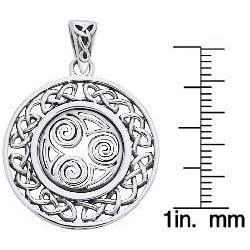 CGC Sterling Silver Celtic Border Triskelion Knot Necklace