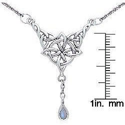 CGC Sterling Silver Moonstone Celtic Luck Knot Necklace