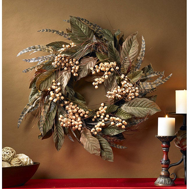 Feather and Berry 24-inch Wreath
