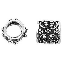 Beadaholique Silver Fancy Granulated Tube European 7.5-mm Charm Beads (Set of 2)