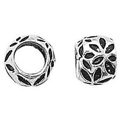 Beadaholique Silver Embossed Daisy European-style 7-mm Charm Beads (Set of 2)